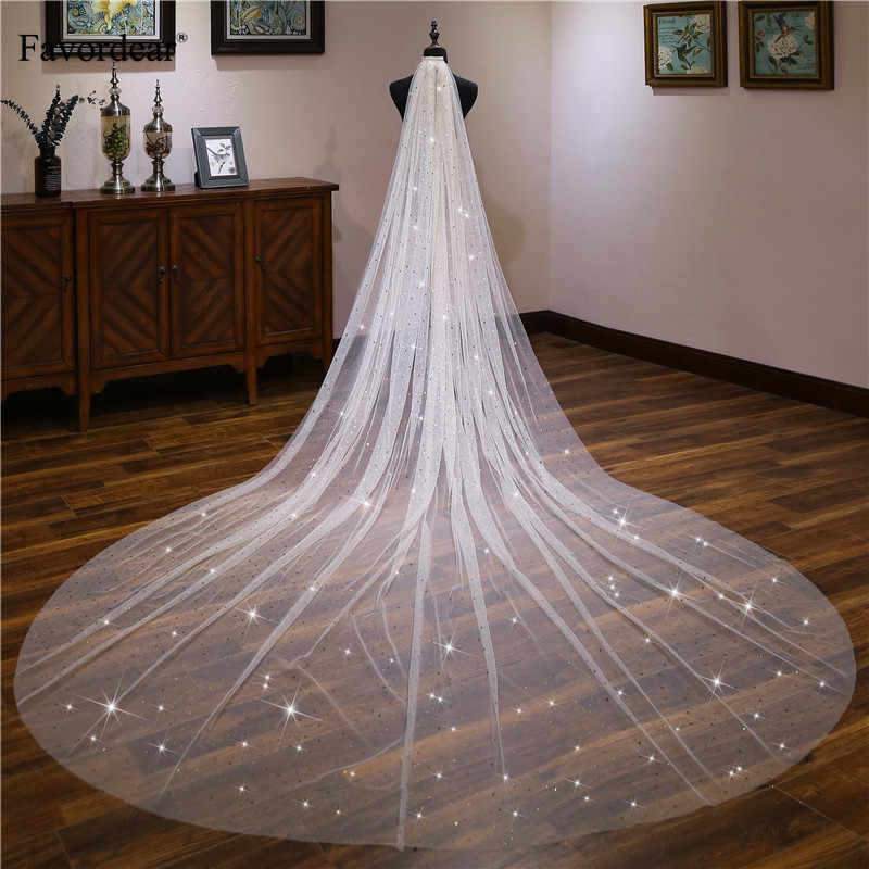 Favordear Light Champagne Sequin Stars 1 Tier Cut-edge Cathedral Wedding Veil Long Velos De Noiva 4m Bridal Veil with Comb