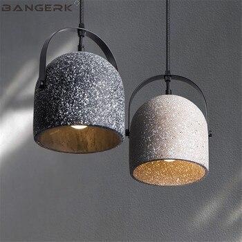 Diseño nórdico cemento colgante luz Vintage LED lámpara ...