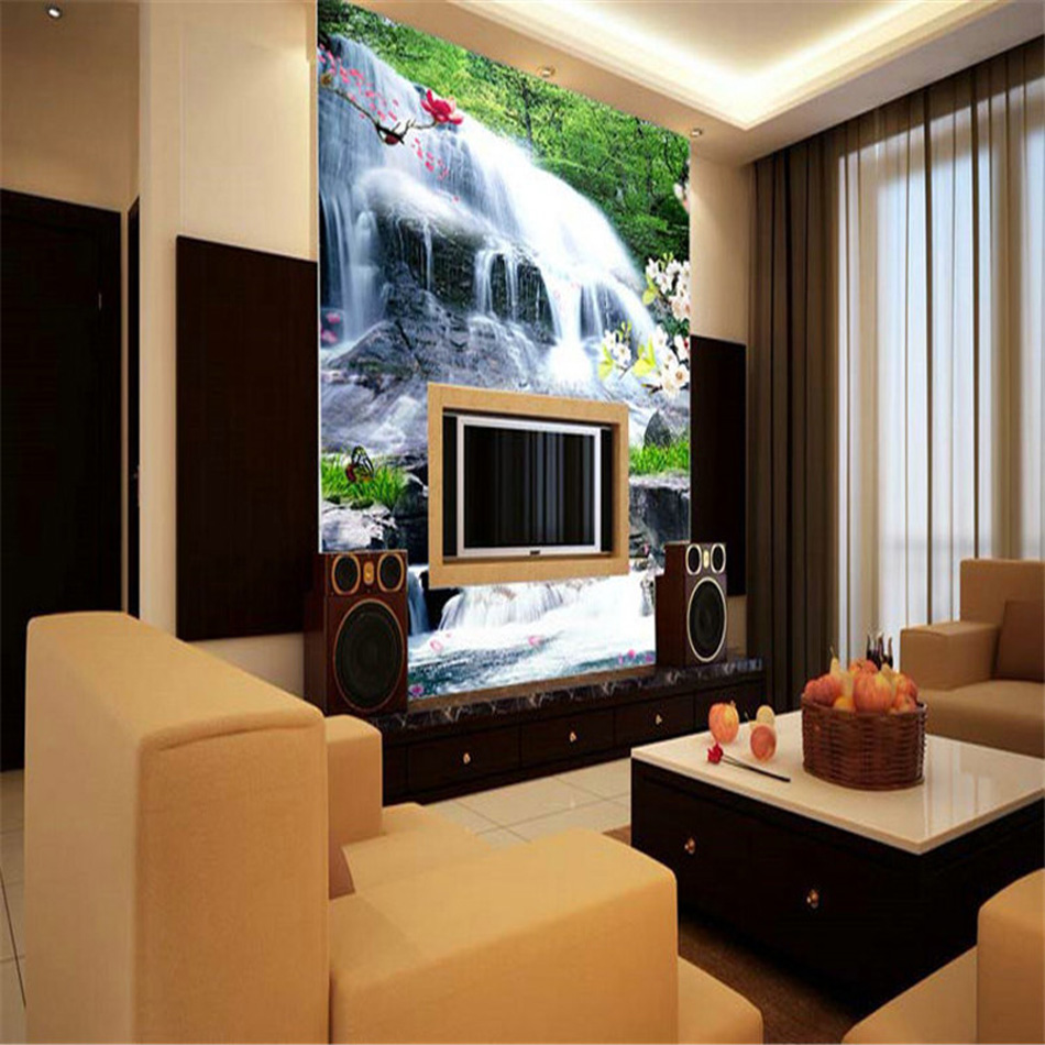 Fresh designs country landscape waterfall wallpaper 3d for Living room decor ideas with wallpaper