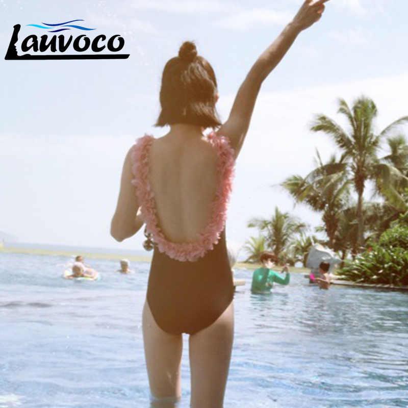 Bikini brasileño Sexy traje De baño Floral rosa sin espalda 3D traje De baño De flores para mujer corte Monokini Maillot De Bain Femme