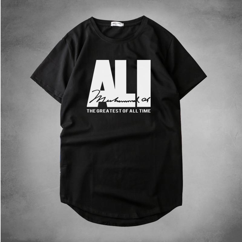 HIP HOP style Curved hem Muhammad Ali Officially Licensed Adult printed T Shirts Men Cotton Fashion Camisetas T-shirts homme