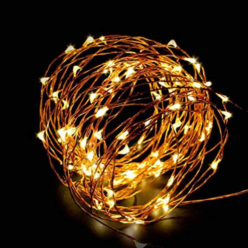Fairy light string alimentato a batteria USB impermeabile 2 metri 10 metri 100 LED string 33FT silver line firefly holiday light strip