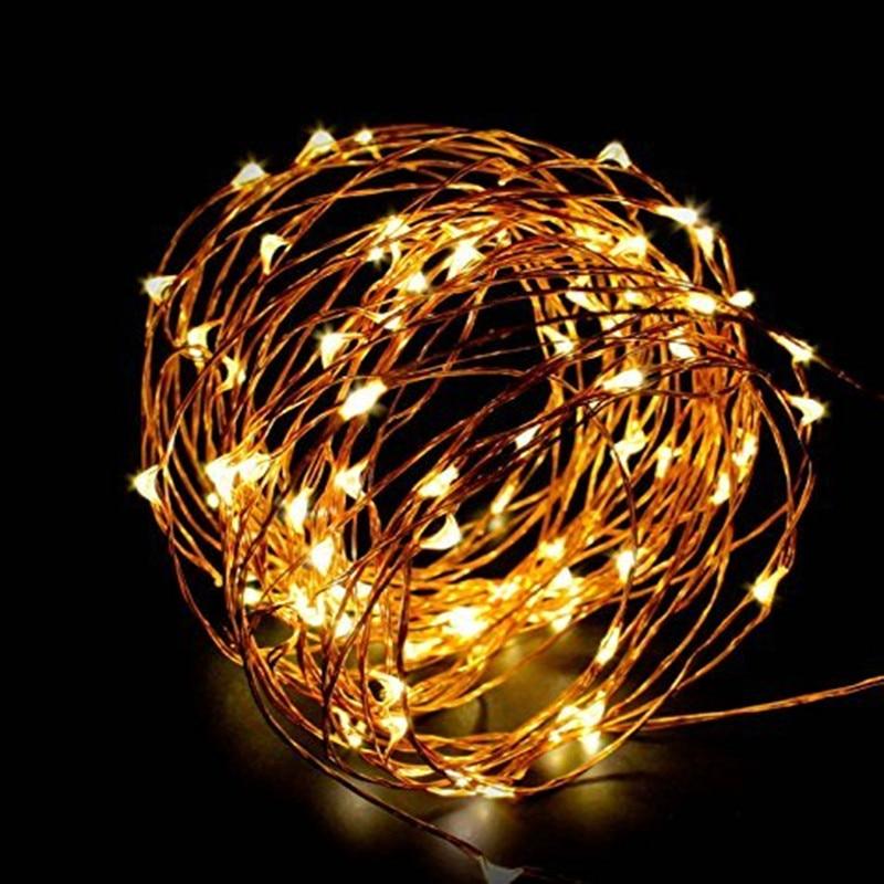 Сказочный светильник, на батарейках, USB, водонепроницаемый, 2 метра, 10 метров, 100 светодиодный, 33 фута, серебристый, светящийся, праздничный св...