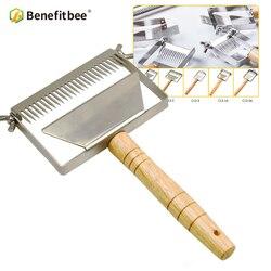 Benfeitbee marca de aço inoxidável descompactação garfo raspador mel ajustável garfos apicultura ferramenta nova atualizado faca mel