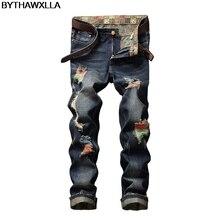 fa23326355 BYTHAWXLLA bordado Jeans agujero Metrosexual recta pantalones vaqueros Casual  Slim vaqueros rosas los hombres pantalones de w252.
