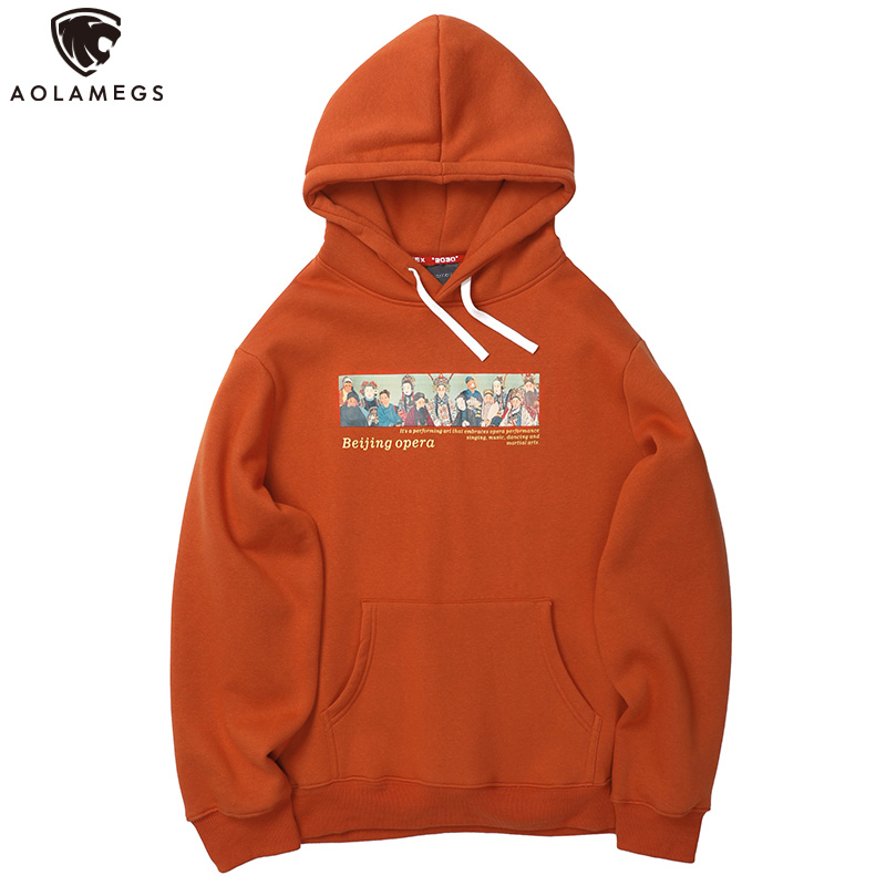 Aolamegs Hoodies Men Chinese Painting Beijing Opera Print Hooded Advanced Thick Pullover  Men Fleece High Street Sweatshirt