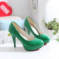 High heels shoes platform women's nude color round toe single shoes yellow black female autumn shoes
