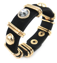 Free Shipping Hot Sell Leather leopard black rhinestone Wrap Bracelets for Women Bracelet 3 color available(China)