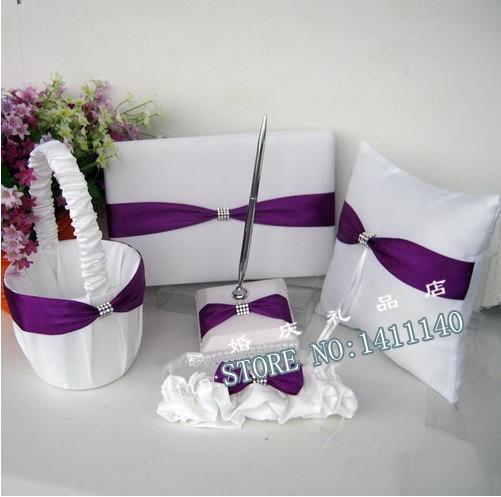 Purple Satin Ring Pillow
