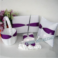 Purple Bow White Satin Wedding Guest Book and Pen Set Flower Girl Basket & Ring Pillow Bridal Garter Ceremony Party Accessories