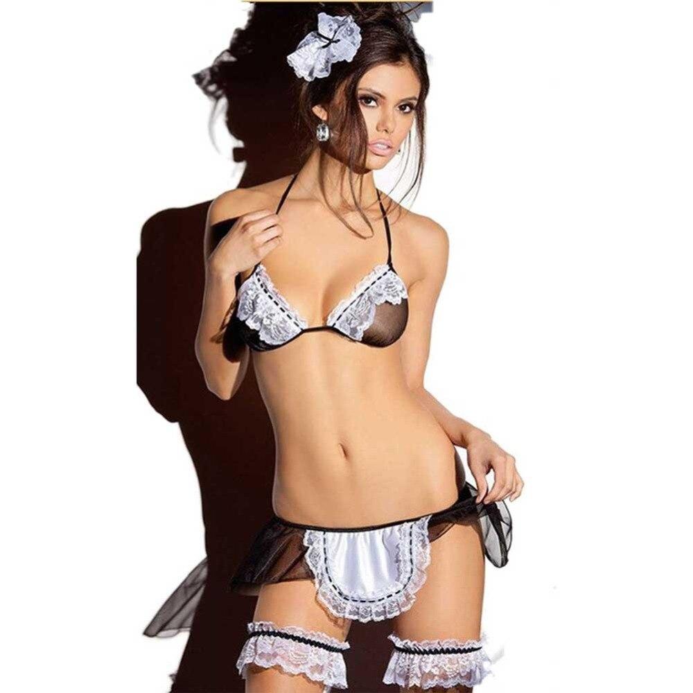 Sexy Costumes Lingerie Bodydoll Sleepwear Hot Black Dress Underwear Lace Set Erotic Lingerie Porn String GB009