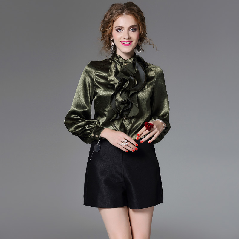 Armée vert satin blouse 5xl mousseline de soie chemises décontracté bohème femmes chemisiers et hauts de dames d'été 2019 sexy lâche Lotus feuille