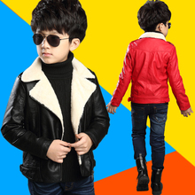 Garçons et filles en cuir enfant vêtements veste enfant Nouveau 2015 4-12 enfants automne hiver plus le velours survêtement De Mode PU en cuir