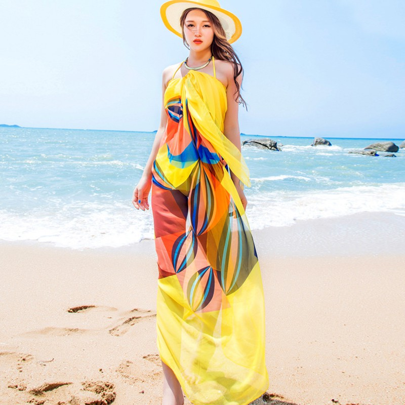 Summer Women Beach Sarongs Chiffon Scarves Geometrical Design Swimsuit Cover Up Bikini Dresses