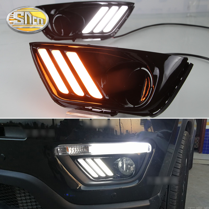 For Jeep Compass 2016 2017 2018 Turn Yellow Signal Relay Waterproof 12V Car LED DRL Lamp Daytime Running Light Daylight SNCN for suzuki vitara brezza 2015 2016 2017 yellow turn signal function waterproof car drl lamp 12v led daytime running light sncn