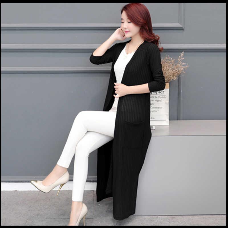 Свободная куртка большого размера, Женская весенне-осенняя шаль с длинным разрезом, тонкий кардиган, корейское внешнее пальто с длинными рукавами, A235C