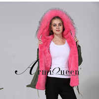 2018 Meifng Brand Pink Color Fashion Army Green Short Jacket Casual Fur Parka Faux Fur Lined Parka Coat