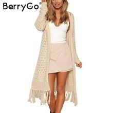 BerryGo Elegant long knitting cardigan sweater women jumper Female long sleeve tassel sweater White knit shirt jersey 2017