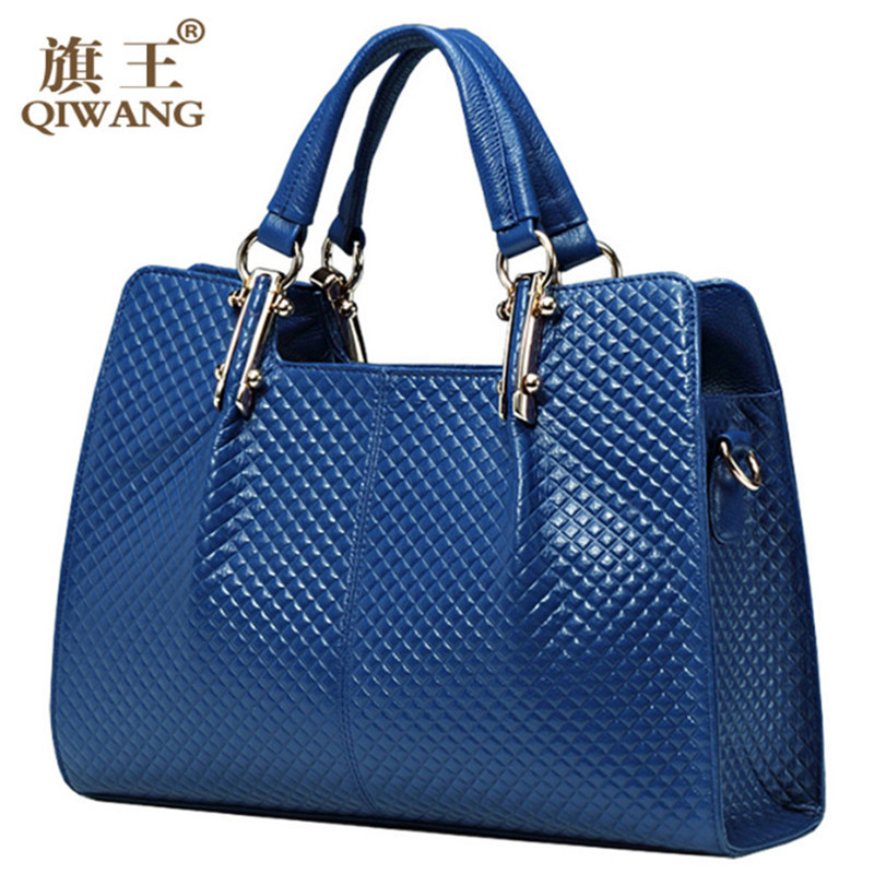 QIWANG Blue Genuine Leather Women Bag Plaid Russian Famous Brand Quality Leather Handbags Quilted Fashion Ladies Hand Bags