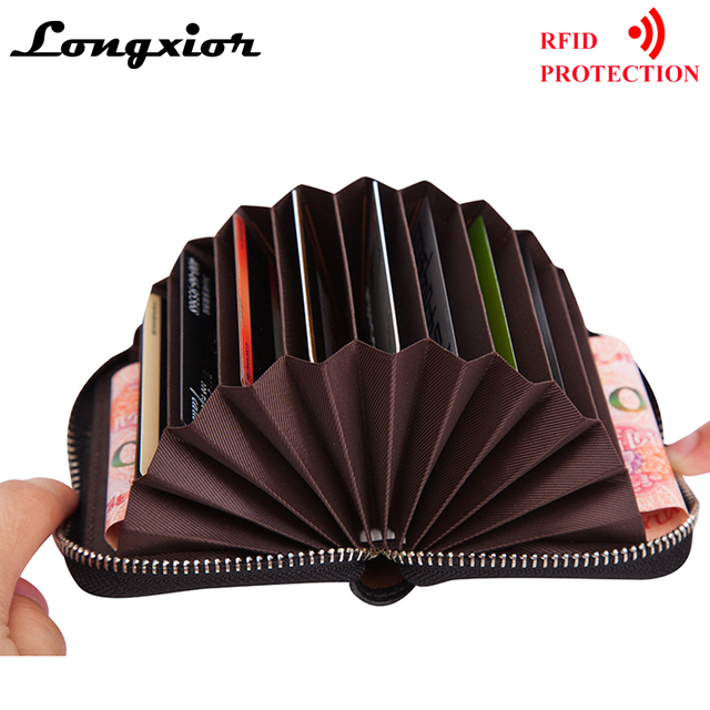 US $5 79 42% OFF LONGXIOR Genuine Leather Women Card Holder Wallets RFID  blocking Purse Zipper Credit Card Bag Zipper Card Case proction MRF19-in  Card