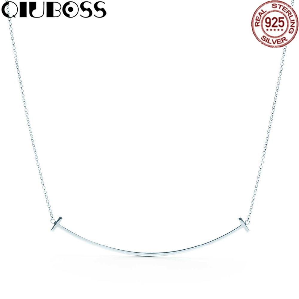 TIFF 100% 925 Sterling Silver Smiling Pendant Silver Necklaces Girls Birthday Gifts Factory Wholesale tiff 100