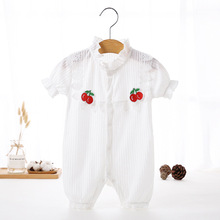 Baby clothes One-Piece Jumpsuits Buttons-Up Soild 100% Cotton Short-Sleeves Cute Coveralls 3-12 Months