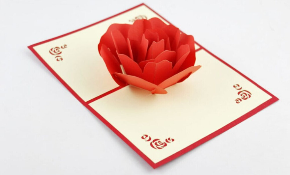 Red Rose pop up card /3D  kirigami card/ handmade greeting card Free shipping carousel horse pop up card 3d greeting card handmade kirigami card free shipping
