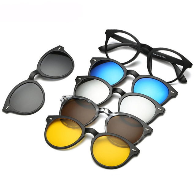 bd57f24ae9d ... Optical Frame Women Men With 5 Clip On Sunglasses Polarized Magnetic  Glasses ...