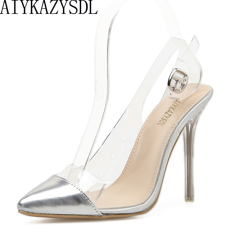 AIYKAZYSDL Women Pumps Thin High Heel Slingback Sandals Clear Transparent Heel Strap Buckle Stilettos Wedding Party Dress Shoes sexy big stars sandals style pvc clear transparent back strap high heel sandals plus size custom stilettos women shoes
