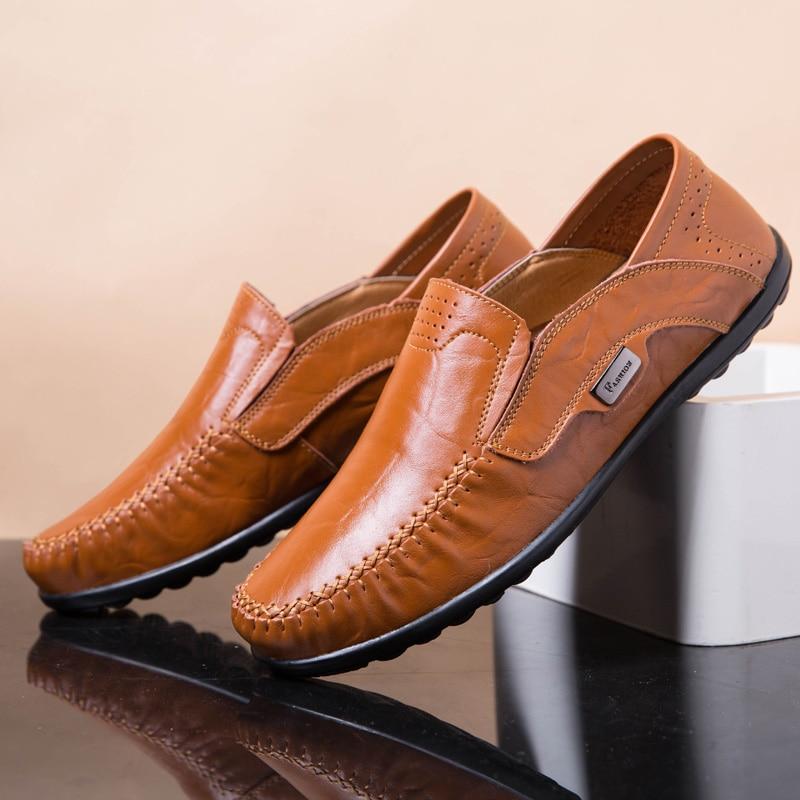 Plus Storlek Män Casual Skor Äkta Läder Moccasin Loafers Designer - Herrskor - Foto 5