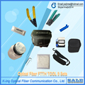 9 PCS Fiber Optic FTTH Tool Kit with FC-6S Fiber Cleaver and  5km Visual Fault Locator Wire stripper and Alcohol bottle