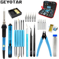 220v 60w Eu Plug Adjustable Temperature Electric Soldering Iron Kit Desoldering Pump Tin Wire Pliers Welding