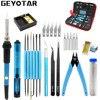 220v 60w Eu Plug Adjustable Temperature Electric Soldering Iron Kit Desoldering Pump Tin Wire Pliers Welding