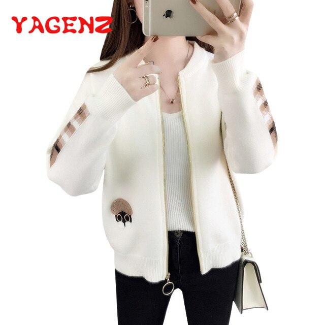 YAGENZ סתיו חורף סוודרים סרוגים מעיל נשים רוכסן לסרוג סוודר אופנה ארוך שרוול קריקטורה סוודר יפה Womans חולצות