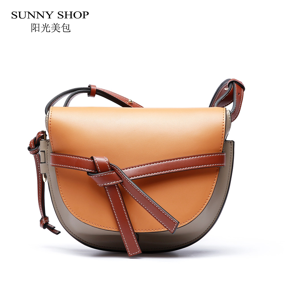 SUNNY SHOP Brand Genuine leather Luxury Handbag 2018 Fashion Women Saddle Bag High Quality Natural Skin Shoulder Bag Small White sunny shop 2017 spring new small women shoulder bag high quality genuine leather women bag brand designer handbag gift for lady