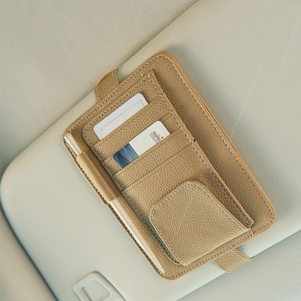 Sun Visor Organizer Multifunction Storage Bag Sunglasses Clip Holder Auto  Interior Organizers Accessories   1 Pcs