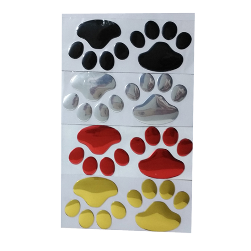 120 pairs lot Wholesale 3d dog paw car auto sticker decals badge black Car styling