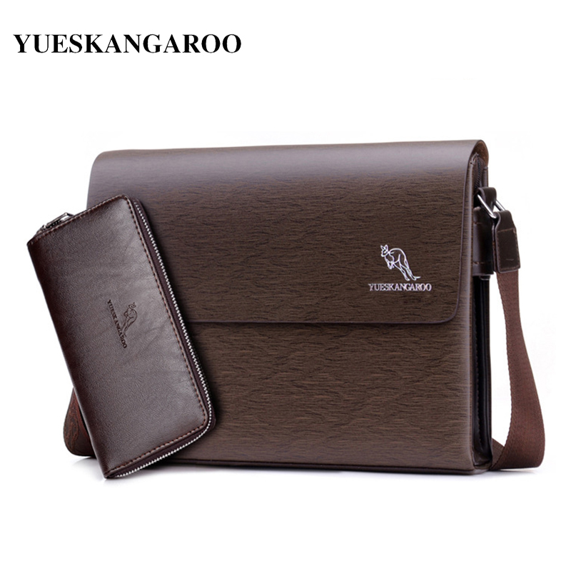 YUES KANGAROO 2017 Brand Men Messenger Bag Casual PU Leather Business Briefcase Bag Small Crossbody Shoulder Bag Male Bolsas yues kangaroo brand men bag leather casual high quality shoulder crossbody bags classical business briefcase mens messenger bag