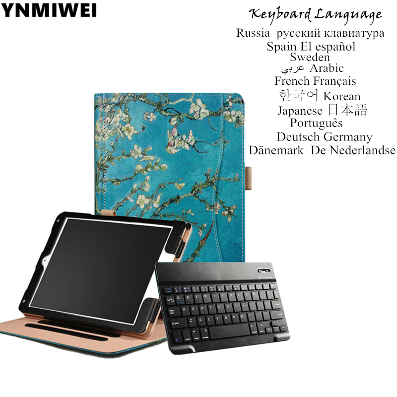 Tablet Case For Apple iPad Air 1 2 Bluetooth Keyboard Cover Colorfull Print For iPad 9.7 2017 2018 Stand Leather Case bluetooth keyboard stand leather tablet case folding stand leather cover for apple ipad air tablets protective sleeve pen