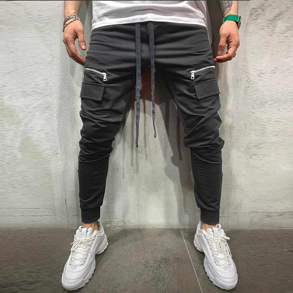 Pantolon erkekler fermuar saf renk günlük pantolon erkekler Joggers cep spor iş rahat pantolon erkek pantolon pantalones hombre L0625