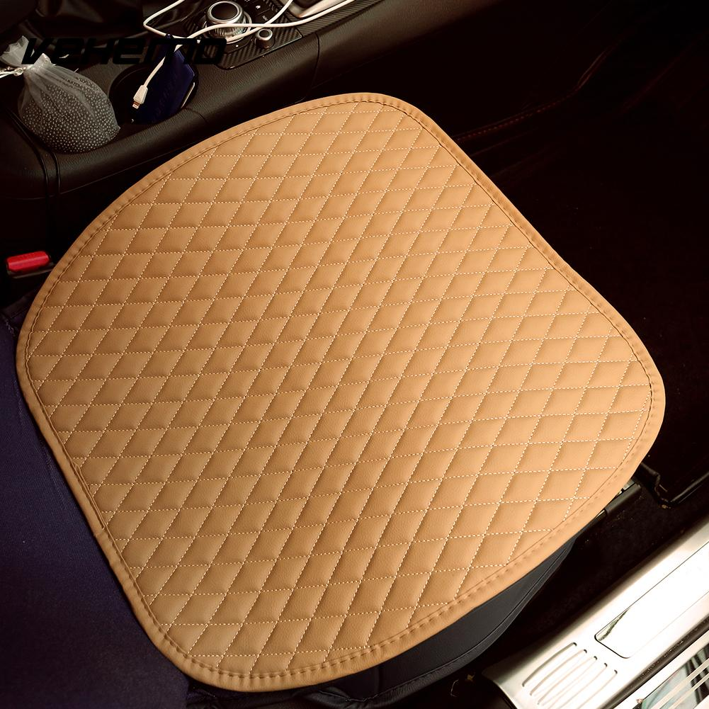 VEHEMO Car Stying PU Leather Seat Cushion Cover Mat Anti-Slip Comfortable Universal Four Seasons Auto Iterior Accessories