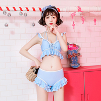 New Arrival Japanese Lolita Style Sweet Sexy Two Piece Bikinis Set Solid Color Ruffle Quick Dry