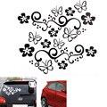 2 Unids Impermeable Universal de La Flor y de La Mariposa Del Cuerpo de Coche/Etiqueta de la Ventana de PVC para el Carro Auto