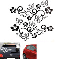 2Pcs Waterproof Universal Flower and Butterfly Car Body/ Window Sticker PVC for Auto Truck