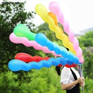Image 2 - Palloncini in lattice a spirale con elio, 50 palloncini in gomma per la decorazione della festa di compleanno, palloncini lunghi WYQ