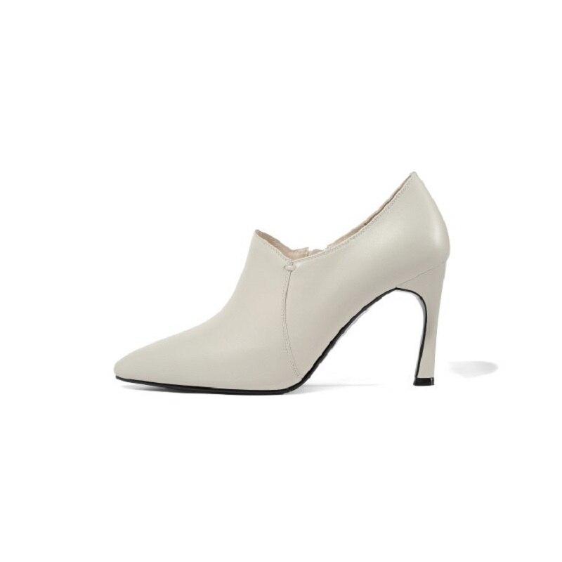 De Zapatos Señaló Beige Y Otoño Profunda Tacón 0324 Boca Stiletto Nuevo Americano 2019 Alto Europeo Mujer wqX7axz