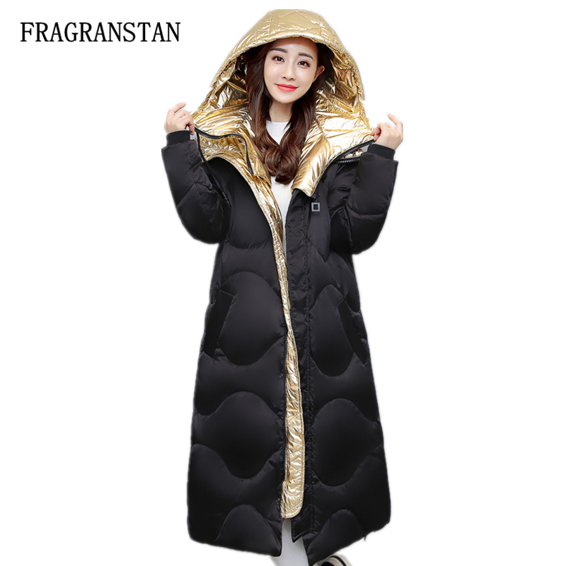2017 Women Thicken Keep Warm Hooded Parkas New Hit Color Patchwork Female Winter Fashion Casual Loose Street Style Vestidos JQ36 casual style head portrait pattern loose hooded fleeces