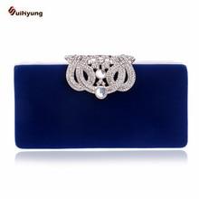 Heißer Verkauf Frauen Samt Handtasche Mode Diamant Crown Verschluss Harte Box Tageskupplung Dame Hochzeit Abendessen Abendtasche Langen kette
