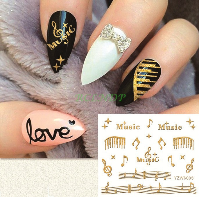 gold sticker for nail art all decoration slider musical notes lace ...