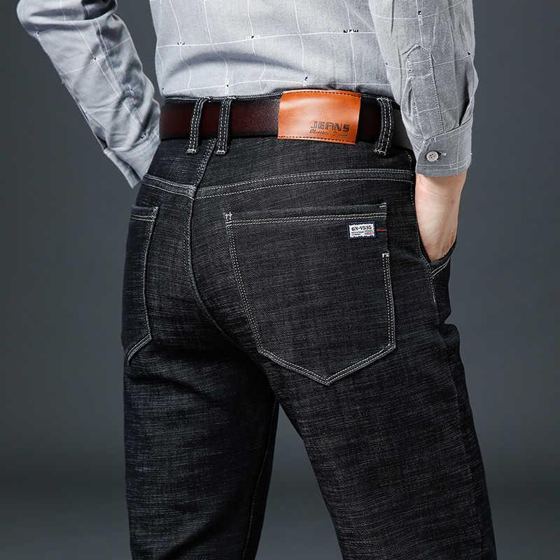 Erkekler's Klasik Kot Marka Büyük Boy Düz Homme Jean Ince Sıkıntılı Tasarım Biker Pantolon Fit Siyah Düzenli Büyük 40 42 44 46